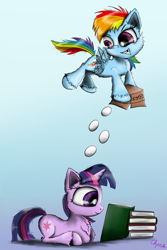 Size: 1280x1919 | Tagged: safe, artist:chopsticks, rainbow dash, twilight sparkle, pegasus, pony, unicorn, blue background, book, butt fluff, cheek fluff, chest fluff, dropping, ear fluff, egg, egghead, female, filly, flapping, fluffy, flying, food, gradient background, grin, hoof fluff, leg fluff, lying down, prank, prone, rainbow douche, reading, simple background, smiling, smirk, spread wings, this will not end well, unicorn twilight, unshorn fetlocks, wings