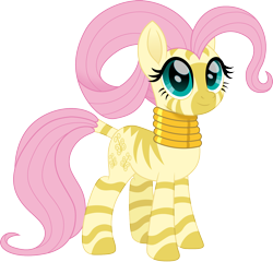 Size: 1500x1437 | Tagged: safe, artist:cloudyglow, fluttershy, zebra, cute, female, jewelry, necklace, shyabetes, simple background, solo, species swap, transparent background, zebrafied