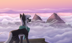 Size: 5000x3000 | Tagged: safe, artist:monogy, oc, oc:zee, earth pony, pony, cloud, female, mare, mountain, solo