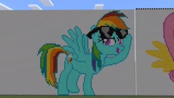 Size: 1920x1080 | Tagged: safe, artist:that1guygamer18, rainbow dash, pegasus, pony, cutie mark, female, huge, minecraft, minecraft pixel art, pixel art, solo, solo female, spread wings, sunglasses, wings