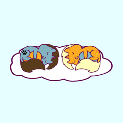 Size: 1200x1200 | Tagged: safe, artist:barpy, oc, oc only, oc:dawnflash, oc:pawsie hooves, pony, unicorn, barpy's sleeping ponies hugging a heart, cloud, cuddling, cute, female, hape, happy, heart, hug, male, romance, romantic, simple background, sleeping, smiling, straight, trace, weapons-grade cute