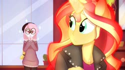 Size: 1192x670   Tagged: safe, artist:faith-wolff, princess celestia, sunset shimmer, oc, oc:peachy keen, fanfic:the bridge, age regression, fanfic art, ponied up, story included, transformation, younger