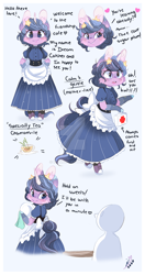 Size: 800x1511 | Tagged: safe, artist:ipun, oc, oc only, oc:dream catcher, anthro, unguligrade anthro, unicorn, anthro oc, arm hooves, bipedal, cheek fluff, chibi, clothes, deviantart watermark, dress, ear fluff, female, first aid kit, food, friendship cafe, maid, mare, obtrusive watermark, shoes, solo, tea, watermark