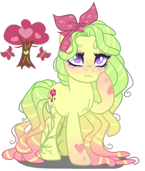 Size: 1400x1650 | Tagged: safe, artist:gihhbloonde, oc, oc only, earth pony, pony, :3, female, magical lesbian spawn, mare, offspring, parent:fluttershy, parent:tree hugger, parents:flutterhugger, simple background, solo, transparent background