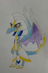 Size: 2744x4103 | Tagged: safe, artist:bsw421, princess ember, dragon, clothes, egyptian, khopesh, solo, sword, traditional art, uniform, weapon