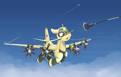 Size: 1920x1224 | Tagged: safe, artist:buckweiser, oc, oc:katya ironstead, original species, plane pony, pony, plane, refueling probe, solo, tongue out, tu-95