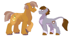 Size: 1280x640   Tagged: safe, artist:itstechtock, oc, oc only, oc:golden anjou, oc:time turner, earth pony, pony, male, offspring, parent:big macintosh, parent:marble pie, parents:marblemac, simple background, stallion, transparent background
