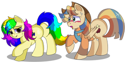 Size: 1280x640 | Tagged: safe, artist:rainbowtashie, oc, oc:rainbow tashie, oc:spicy cider, earth pony, pegasus, pony, aroused, bedroom eyes, blushing, butt, clothes, commissioner:bigonionbean, cowboy hat, female, flank, fusion, fusion:spicy cider, hat, jumpsuit, love, male, mare, nintendo 64, plot, shaking, shocked, simple background, stallion, stetson, sultry pose, surprised, transparent background, writer:bigonionbean