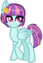 Size: 676x992 | Tagged: safe, artist:fantarianna, sunny flare, pegasus, pony, equestria girls, friendship games, equestria girls ponified, female, flower, flower in hair, mare, ponified, simple background, solo, transparent background