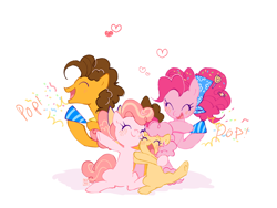 Size: 1084x814 | Tagged: safe, artist:kino-ta, cheese sandwich, li'l cheese, pinkie pie, oc, oc:cheese cake, pony, spoiler:s09e26, cheesepie, female, male, party horn, shipping, straight
