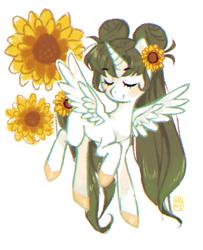 Size: 658x811 | Tagged: safe, artist:kino-ta, oc, oc only, oc:golden green, alicorn, pony, female, flower, flower in hair, mare, simple background, solo, sunflower, white background