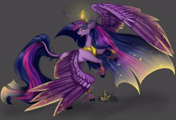 Size: 3500x2400 | Tagged: safe, artist:martazap3, twilight sparkle, alicorn, pony, the last problem, crown, female, high res, jewelry, looking at you, mare, peytral, princess twilight 2.0, rearing, regalia, solo, spread wings, tail, twilight sparkle (alicorn), unshorn fetlocks, wings