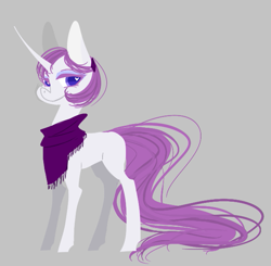 Size: 629x616 | Tagged: safe, artist:trainerfairy, pony, unicorn, alternate design, alternate hairstyle, curved horn, horn, lidded eyes, shawl, smiling, solo