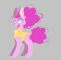 Size: 629x616 | Tagged: safe, artist:trainerfairy, pinkie pie, pony, alternate hairstyle, alternate style, bow, clothes, smiling, solo, tail bow, vest