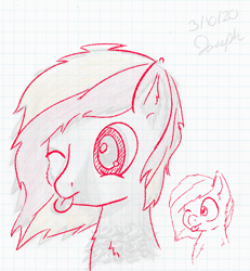 Size: 698x754 | Tagged: safe, artist:mlplayer dudez, artist:pixienop, oc, oc only, oc:solder point, earth pony, pony, bust, cheek fluff, chest fluff, cute, ear fluff, graph paper, lineart, male, one eye closed, solo, stallion, tongue out