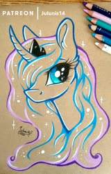 Size: 1600x2507 | Tagged: safe, artist:julunis14, princess luna, alicorn, bust, colored pencil drawing, curved horn, ear fluff, horn, outlines, portrait, traditional art