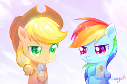 Size: 2400x1585 | Tagged: safe, artist:bronyazaych, applejack, rainbow dash, earth pony, pegasus, pony, appledash, chibi, cowboy hat, female, hat, lesbian, mare, shipping, toy