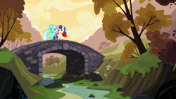 Size: 7680x4320 | Tagged: safe, artist:estories, artist:jerryakiraclassics19, artist:mlp-vector-collabs, artist:tardifice, bon bon, lyra heartstrings, sweetie drops, earth pony, pony, unicorn, bouquet, bridge, duo, female, flower, lesbian, lyrabon, male, mare, rock, shipping, show accurate, straight, sunset, tree, water