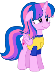 Size: 6312x8231 | Tagged: safe, alternate version, artist:ejlightning007arts, oc, oc only, oc:hsu amity, alicorn, alicorn oc, clothes, cute, female, floppy ears, horn, mare, not twilight sparkle, shirt, simple background, smiling, solo, transparent background, vector, wings