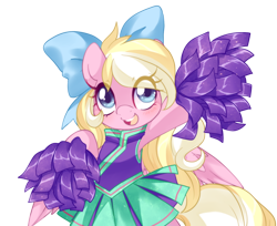 Size: 1226x1000 | Tagged: safe, artist:loyaldis, oc, oc only, oc:bay breeze, pegasus, pony, blushing, bow, cheerleader, cheerleader outfit, clothes, cute, female, hair bow, mare, ocbetes, open mouth, pom pom, simple background, transparent background