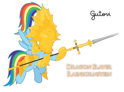 Size: 4268x3200   Tagged: safe, artist:gutovi, rainbow dash, armor, armored pony, crossover, dark souls, dragon slayer, dragon slayer ornstein, dragonslayer, helmet, ornstein, simple background, spear, transparent background, weapon