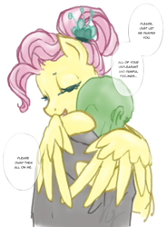 Size: 950x1293 | Tagged: artist needed, safe, fluttershy, oc, oc:anon, pegasus, pony, /mlp/, 4chan, comforting, drawthread, feels, hug, older, older fluttershy, ponified, simple background, text, winghug