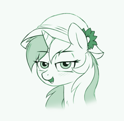 Size: 1982x1935 | Tagged: safe, artist:godoffury, lyra heartstrings, pony, unicorn, /mlp/, 4chan, bedroom eyes, blushing, cute, drawthread, flower, hat, lidded eyes, monochrome, open mouth, requested art, simple background, solo, white background