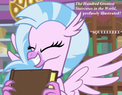 Size: 924x720 | Tagged: safe, edit, edited screencap, screencap, silverstream, what lies beneath, book, cropped, cute, diastreamies, irrational exuberance, library, smiling, squee, talking, that hippogriff sure does love stairs