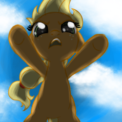 Size: 800x800 | Tagged: safe, artist:nimaru, applejack, pony, female, filly, filly applejack, low angle, solo, younger