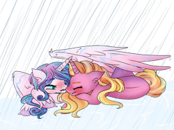 Size: 2048x1536 | Tagged: safe, artist:twinklecometyt, luster dawn, princess flurry heart, alicorn, pony, unicorn, alternate hairstyle, blushing, cute, eyes closed, female, flurrybetes, flurrydawn, grin, lesbian, lusterbetes, mare, older, older flurry heart, open mouth, prone, rain, shipping, simple background, smiling, spread wings, transparent background, unshorn fetlocks, wet, wet mane, wing shelter, wing umbrella, wings