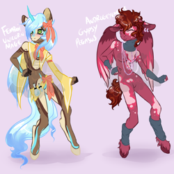 Size: 900x900 | Tagged: safe, artist:lavvythejackalope, oc, oc only, pegasus, unicorn, base used, bow, breasts, clothes, duo, ear piercing, earring, eyes closed, featureless breasts, featureless crotch, female, femboy, fingerless gloves, gloves, hair bow, horn, jewelry, male, pegasus oc, piercing, scarf, unicorn oc, unshorn fetlocks, vial, wings