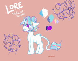 Size: 1900x1500 | Tagged: safe, artist:lavvythejackalope, oc, oc only, oc:lore, pony, unicorn, bust, female, hoof fluff, horn, leonine tail, lineart, mare, one eye closed, reference sheet, smiling, tongue out, unicorn oc, wink