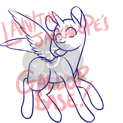 Size: 900x900 | Tagged: safe, artist:lavvythejackalope, oc, oc only, alicorn, alicorn oc, base, horn, lineart, simple background, watermark, white background, wings