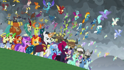 Size: 1280x720 | Tagged: safe, screencap, amethyst star, autumn blaze, ballista, billy (dragon), blaze, carapace (character), chancellor neighsay, firelight, fizzlepop berrytwist, flam, fleetfoot, flim, fume, gabby, garble, gilda, grampa gruff, greta, lemon hearts, lightning streak, lyra heartstrings, minuette, misty fly, moondancer, night light, ocean flow, party favor, pharynx, prince rutherford, princess ember, prominence, rain shine, seaspray, silver lining, silver zoom, sky beak, soarin', sparkler, spear (dragon), spiracle, spitfire, stellar flare, sunburst, surprise, tempest shadow, terramar, thorax, trixie, twilight velvet, wind waker (character), changedling, changeling, classical hippogriff, dragon, griffon, hippogriff, kirin, pegasus, pony, unicorn, yak, the ending of the end, awesome, clothes, crowning moment of awesome, dragoness, equestria assemble, everycreature, everypony, female, final battle, flying, king thorax, male, mare, prince pharynx, stallion, uniform, wonderbolts uniform