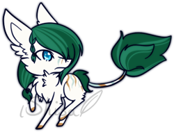 Size: 365x278 | Tagged: safe, artist:14th-crown, oc, oc only, original species, plant pony, augmented tail, chest fluff, ear fluff, plant, raised hoof, simple background, solo, transparent background
