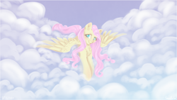 Size: 1920x1080 | Tagged: safe, artist:fanaticpanda, fluttershy, pegasus, pony, chest fluff, cloud, colored pupils, cute, ear fluff, female, flying, leg fluff, mare, shyabetes, sky, solo, spread wings, wings
