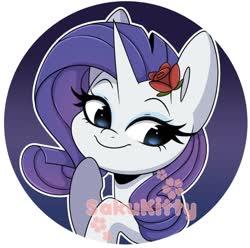 Size: 1024x1016 | Tagged: safe, artist:sakukitty, rarity, pony, unicorn, bust, button, cute, female, flower, flower in hair, mare, obtrusive watermark, portrait, raribetes, rose, solo, watermark
