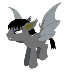 Size: 387x437 | Tagged: safe, artist:beaudodson, oc, oc:smoothtalk silvertongue, bat pony, pony, base used, baseartist:gothicnebula, bat pony oc, bat wings, blue eyes, looks like shit lmao, solo, wings