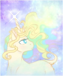 Size: 1920x2301 | Tagged: safe, artist:acry-artwork, oc, oc only, oc:acry weaver, pony, unicorn, crying, curved horn, horn, magic, solo, space, sparkles, stars