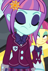 Size: 735x1080 | Tagged: safe, sour sweet, sunny flare, equestria girls, clothes, crystal prep academy uniform, eyes closed, eyeshadow, female, freckles, lidded eyes, makeup, school uniform, sunny flare's wrist devices, vest
