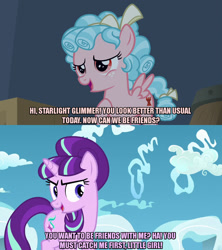 Size: 1280x1440 | Tagged: safe, edit, edited screencap, editor:jaredking203, screencap, cozy glow, starlight glimmer, pegasus, pony, unicorn, the cutie re-mark, the summer sun setback, bow, caption, duo, female, filly, freckles, image macro, mare, meme, s5 starlight, text