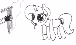 Size: 2048x1224 | Tagged: safe, artist:ewoudcponies, oc, pony, unicorn, chopsticks, drool, eyes on the prize, food, horn, lineart, monochrome, sushi, unicorn oc, wide eyes