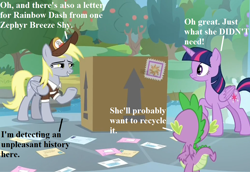 Size: 1008x693 | Tagged: safe, edit, edited screencap, screencap, derpy hooves, spike, twilight sparkle, alicorn, dragon, the point of no return, cropped, cute, derpabetes, dialogue, hat, implied rainbow dash, implied zephyr breeze, mail, mailmare hat, mailpony uniform, package, twilight sparkle (alicorn), uh oh, winged spike