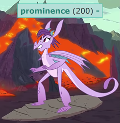 Size: 675x689 | Tagged: safe, edit, edited screencap, editor:melisareb, screencap, prominence, dragon, derpibooru, shadow play, background dragon, cropped, cute, dragoness, female, lava, meta, milestone, promibetes, smiling, solo, surfboard, tags
