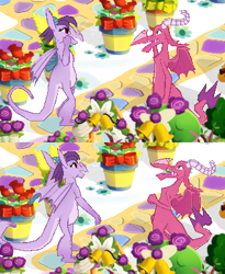 Size: 315x385 | Tagged: safe, ballista, prominence, dragon, bouquet, dragoness, duo, female, flower, game screencap, gameloft, laughing, rose, talking
