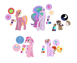 Size: 1024x836 | Tagged: safe, artist:pegasister64, oc, oc only, alicorn, earth pony, unicorn, color palette, colt, cutie mark, female, magical lesbian spawn, male, mare, offspring, parent:big macintosh, parent:pinkie pie, parent:pipsqueak, parent:pokey pierce, parent:princess celestia, parent:princess luna, parent:starlight glimmer, parent:sunburst, parent:twilight sparkle, parents:lunapip, parents:pokeypie, parents:starburst, parents:twilestia, parents:twimac, simple background, stallion, transparent background