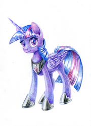 Size: 700x972 | Tagged: safe, artist:maytee, twilight sparkle, alicorn, pony, colored pencil drawing, female, hoof shoes, mare, simple background, smiling, solo, traditional art, twilight sparkle (alicorn), white background