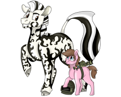 Size: 2500x2000 | Tagged: safe, artist:euspuche, oc, oc:burst fire, oc:hozoya, earth pony, zebra, helmet, looking at each other, simple background, size difference, transparent background, weapon