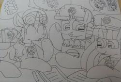 Size: 3592x2425 | Tagged: safe, artist:徐詩珮, fizzlepop berrytwist, glitter drops, spring rain, tempest shadow, twilight sparkle, alicorn, unicorn, series:sprglitemplight diary, series:sprglitemplight life jacket days, series:springshadowdrops diary, series:springshadowdrops life jacket days, alternate universe, bisexual, broken horn, chase (paw patrol), clothes, cute, female, glitterbetes, glitterlight, glittershadow, horn, lesbian, lifeguard, lifeguard spring rain, marshall (paw patrol), paw patrol, polyamory, shipping, skye (paw patrol), sleeping, sprglitemplight, springbetes, springdrops, springlight, springshadow, springshadowdrops, tempestbetes, tempestlight, twilight sparkle (alicorn), yawn, zuma (paw patrol)
