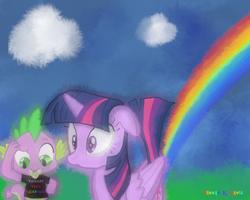 Size: 720x576   Tagged: safe, artist:thomasriordan, spike, twilight sparkle, alicorn, dragon, pony, clothes, fart, female, male, mare, rainbow, rainbow fart, raised tail, shirt, surprised, tail, twilight sparkle (alicorn), wide eyes